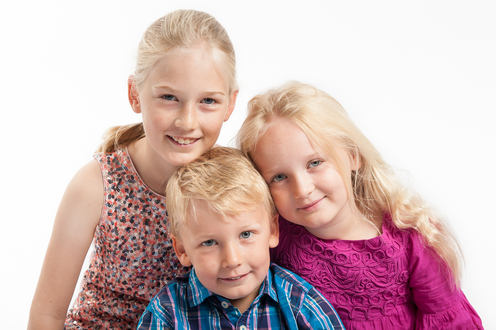 portrait photographer, portrait photography derby, Family portrait of three young children, photographed in the studio