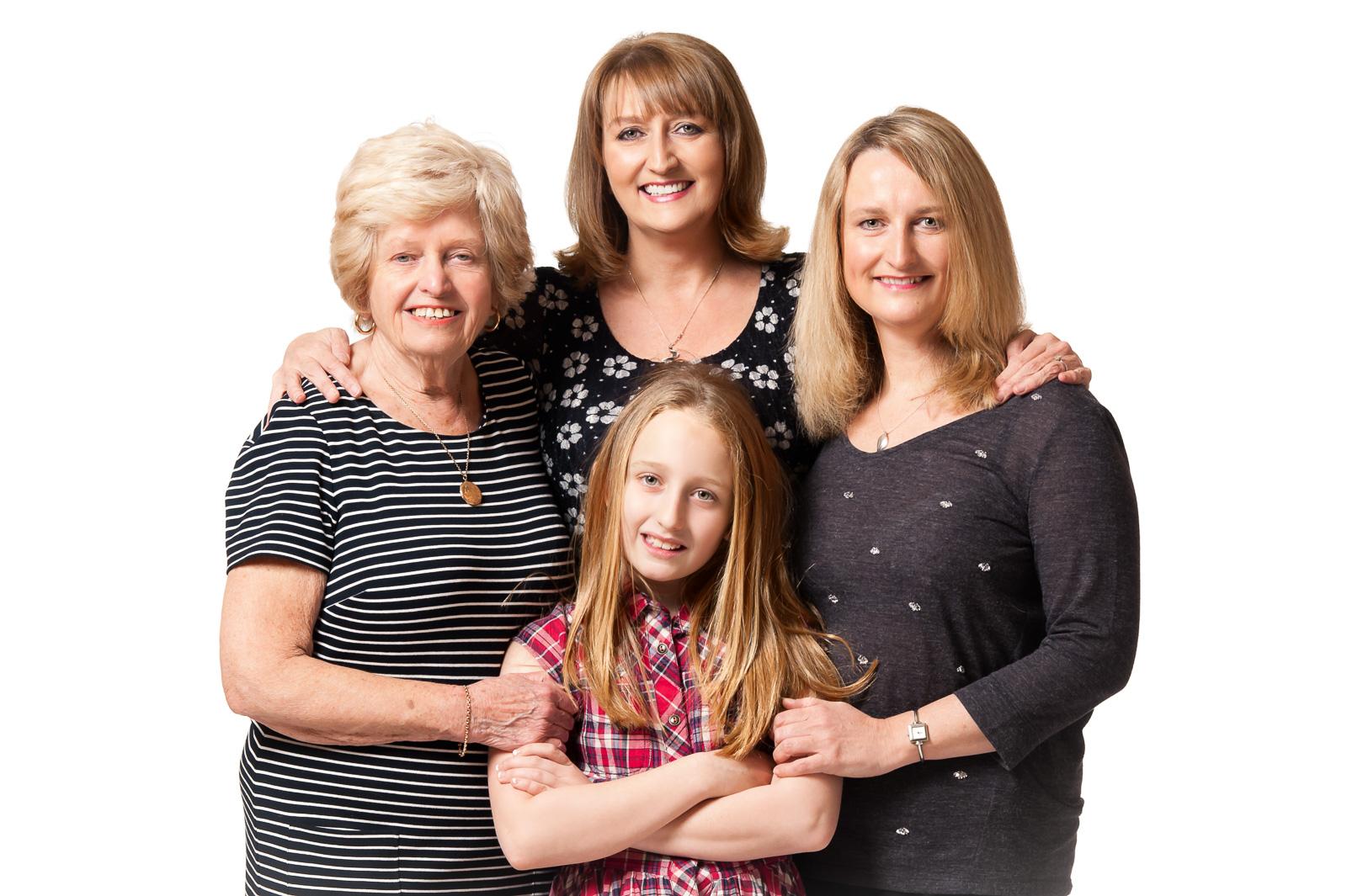 portrait photographer, portrait photography derby, Studio portrait of a family group