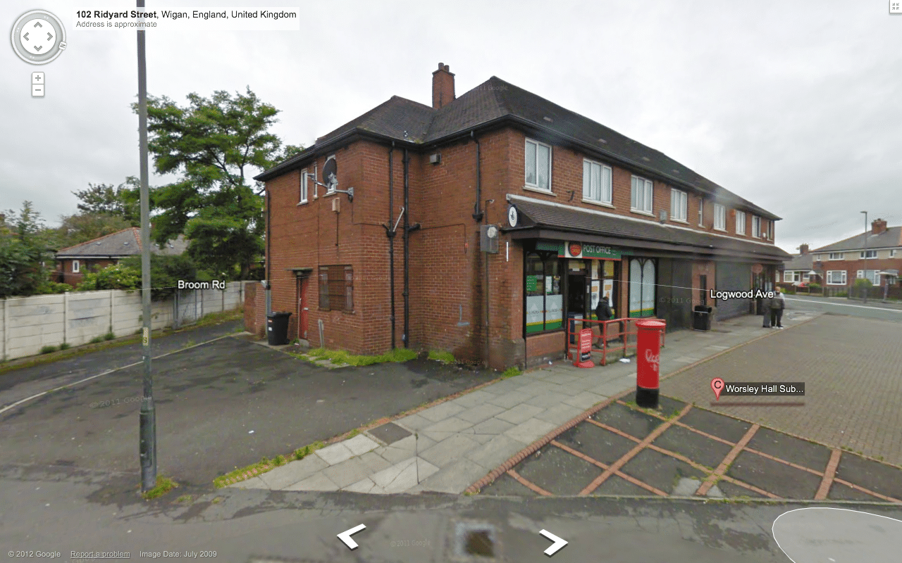 Google Street View of Worsley Hall Post Office, Wigan, 2012