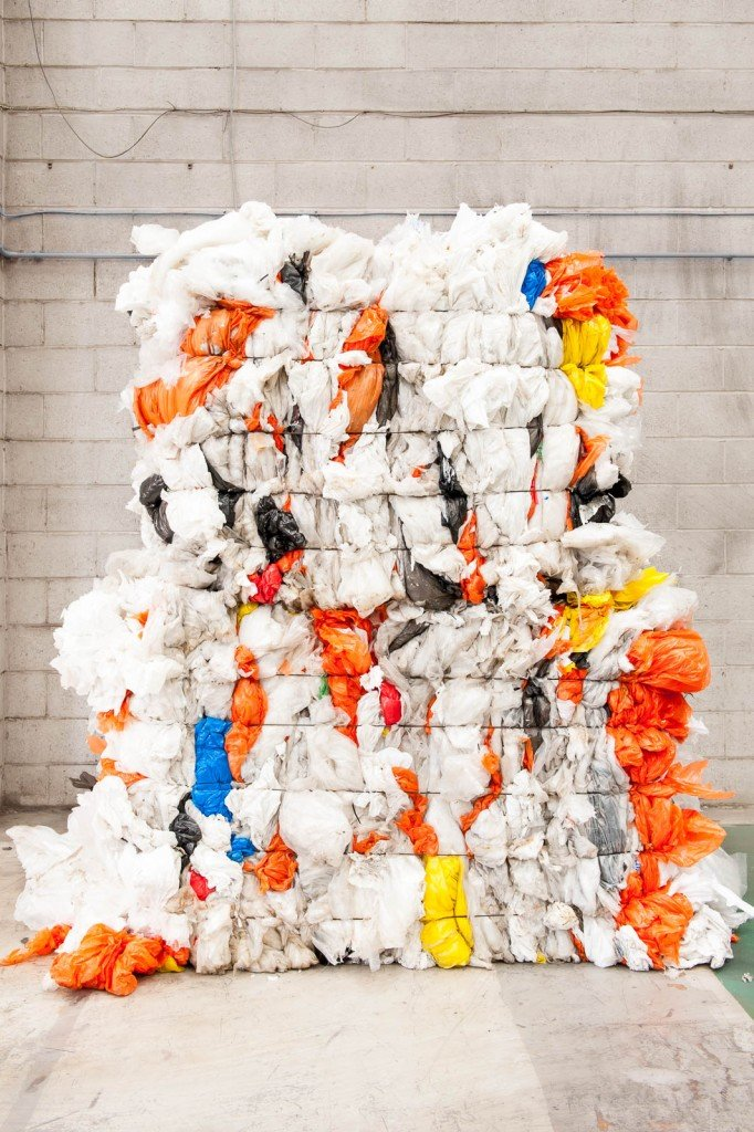 A large bale of plastic bags