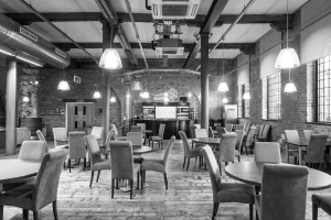 Interior shot of the Engine Shed restaurant at Derby Roundhouse  for advertising campaign