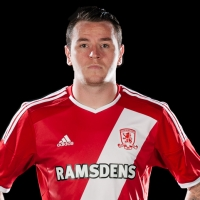 Member of Middlesbrough FC modelling the new season's strip, sponsored by Adidas