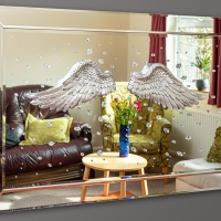 Hand-decorated mirror photographed for small business