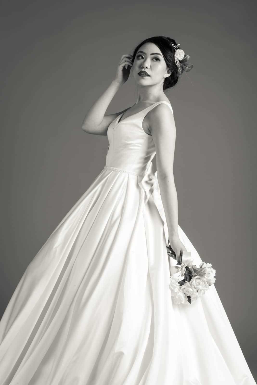 Anne May modelling a gown by Karentino Bridal, for their website