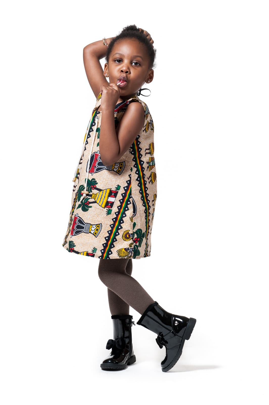 April modelling kids' clothes designed by Karen Jonga for New Africa Nation