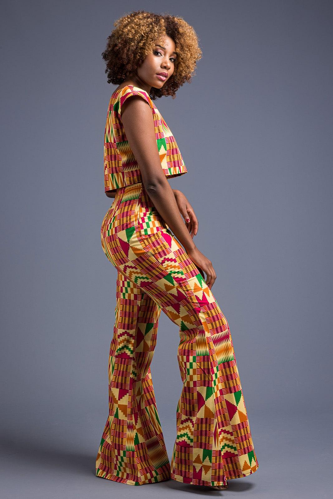 Karen modelling one of her own designs