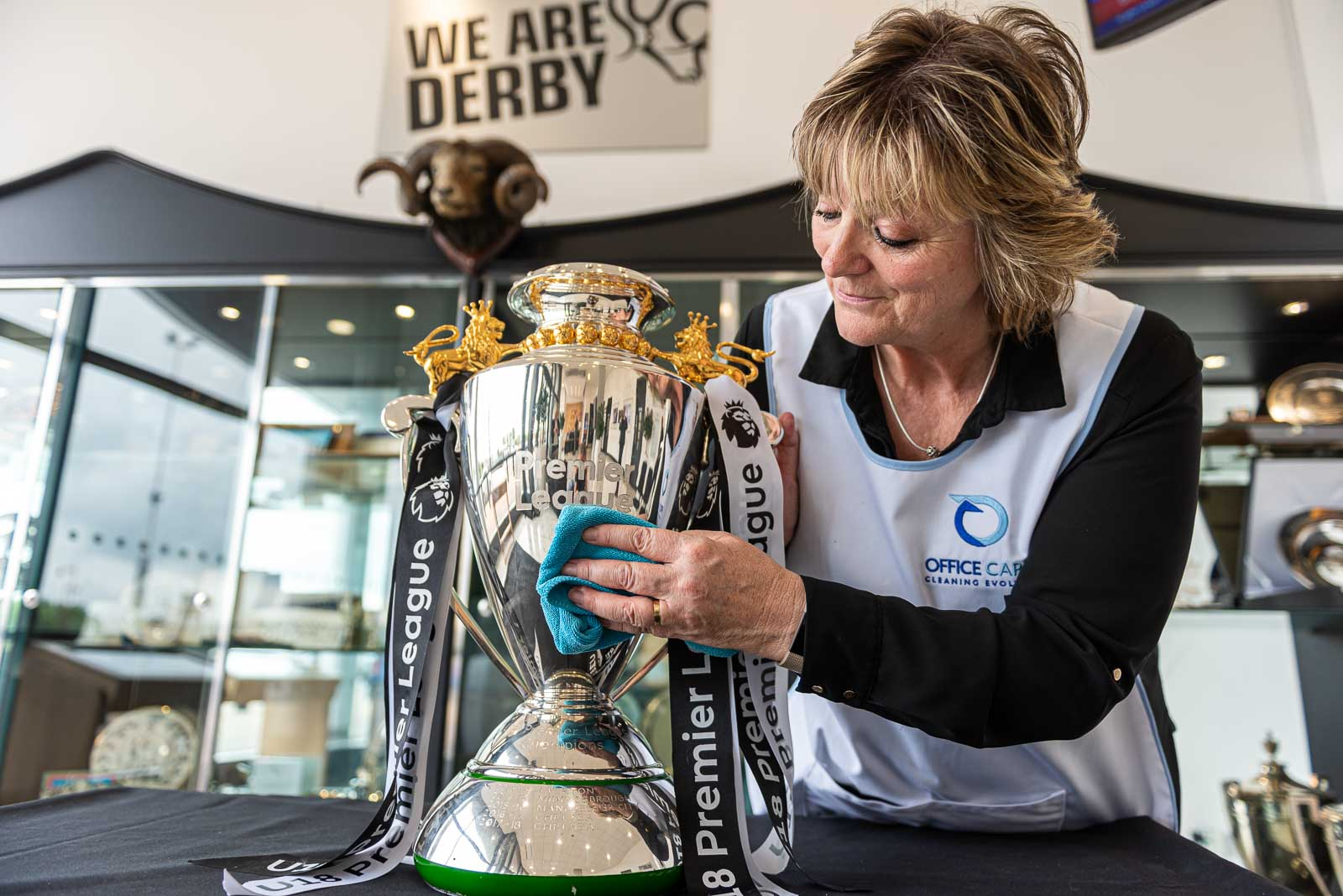 PR photograph for Office Care, at Derby County FC