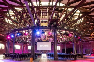 Derby Roundhouse set up for a Movie Night event