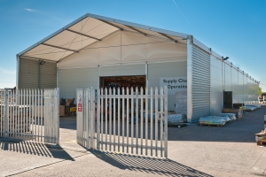 industrial photographer derby, industrial photography derby. Location industrial photography of a temporary storage building in bright sunlight, Crewe