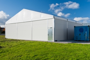 industrial photographer derby, industrial photography derby. Location industrial photography of a temporary storage building, North Wales