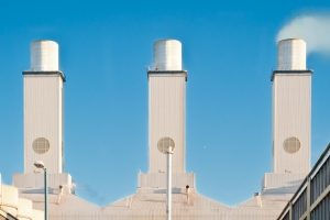 industrial photographer derby, industrial photography derby. Industrial location photography of a gas-fired power station, showing vapour rising from one chimney