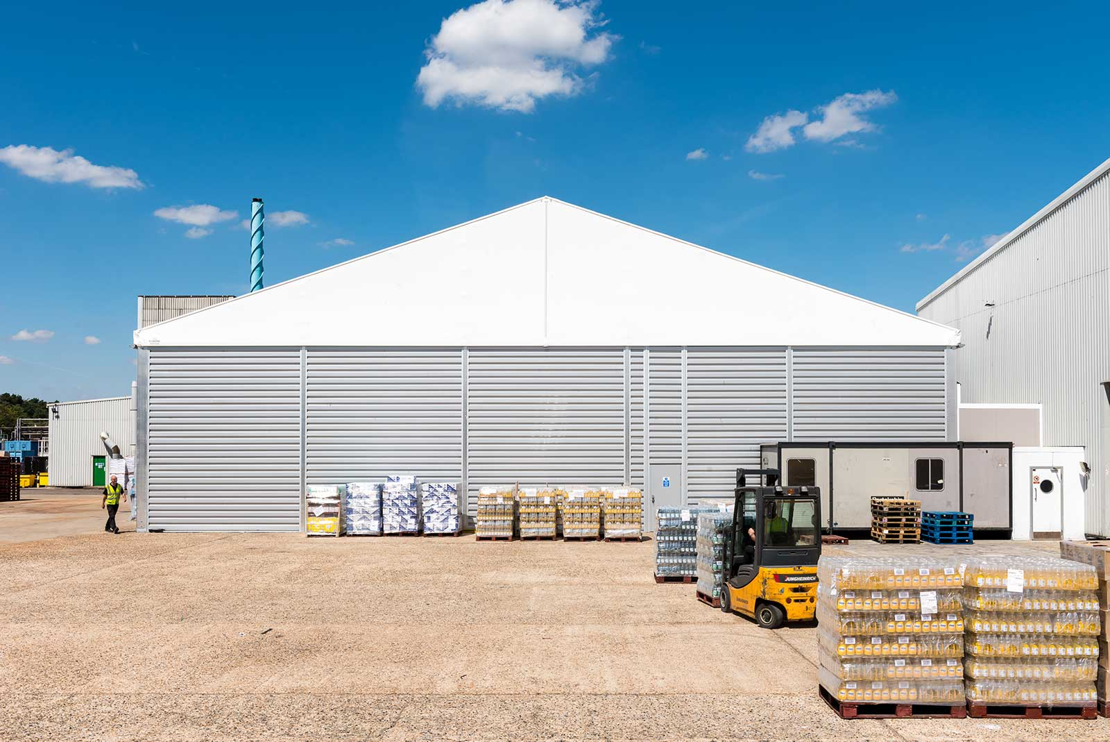 Industrial temporary storage unit photographed for HTS Roder website