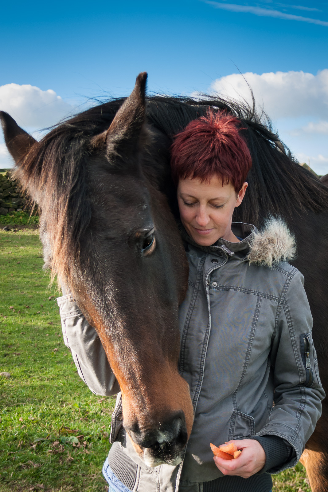 portrait photographer, portrait photography derby, Pet portrait of a horse and its owner: Echo and Kat
