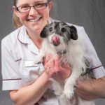 staff portrait with dog at veterinary hospital